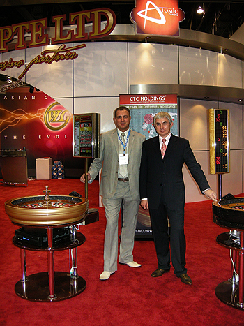 CTC HOLDINGS roulette wheels and winning number displays at G2E in Las Vegas